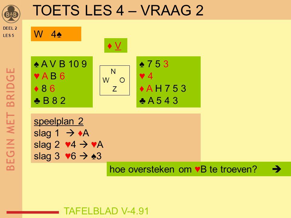 DEEL 2 LES 5 ♠ A V B 10 9 ♥ A B 6 ♦ 8 6 ♣ B 8 2 ♠ 7 5 3 ♥ 4 ♦ A H 7 5 3 ♣ A 5 4 3 N W O Z TAFELBLAD V-4.91 ♦ V♦ V speelplan 2 slag 1  ♦A slag 2 ♥4 