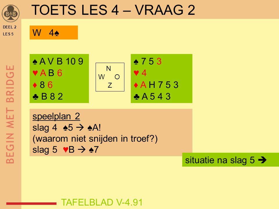 DEEL 2 LES 5 ♠ A V B 10 9 ♥ A B 6 ♦ 8 6 ♣ B 8 2 ♠ 7 5 3 ♥ 4 ♦ A H 7 5 3 ♣ A 5 4 3 N W O Z TAFELBLAD V-4.91 speelplan 2 slag 4 ♠5  ♠A! (waarom niet sn