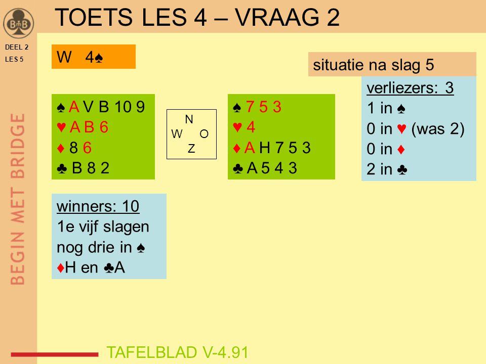 DEEL 2 LES 5 ♠ A V B 10 9 ♥ A B 6 ♦ 8 6 ♣ B 8 2 ♠ 7 5 3 ♥ 4 ♦ A H 7 5 3 ♣ A 5 4 3 N W O Z TAFELBLAD V-4.91 verliezers: 3 1 in ♠ 0 in ♥ (was 2) 0 in ♦