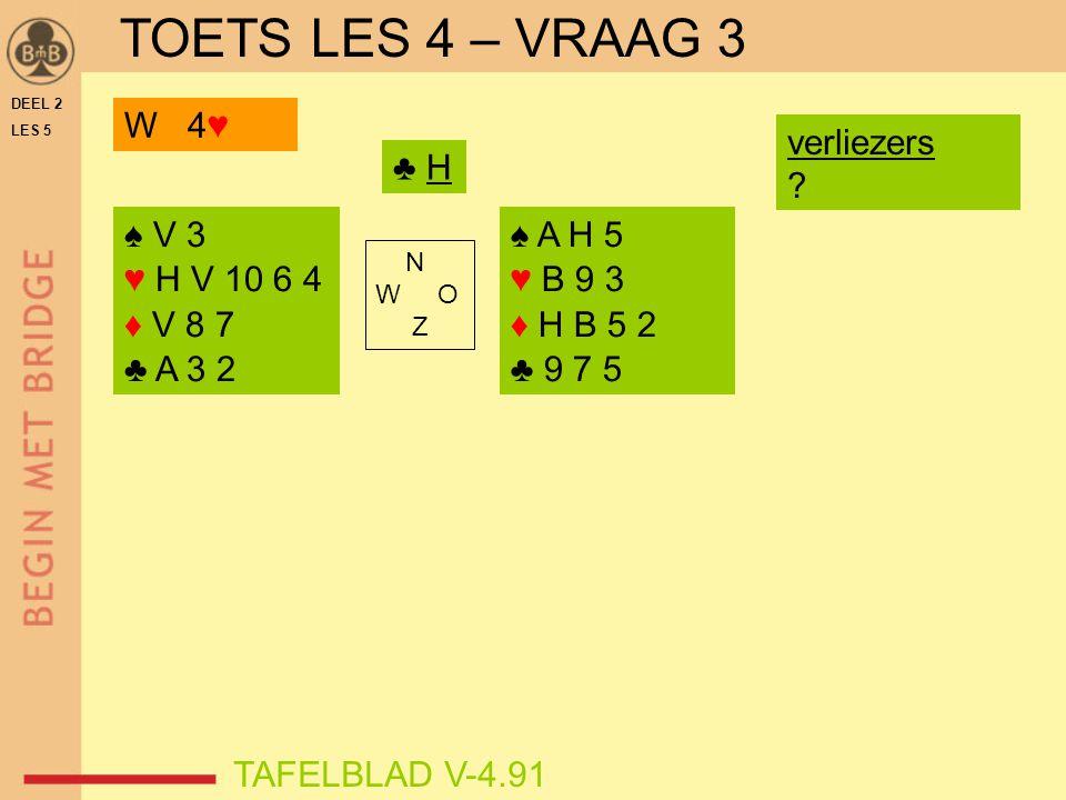 DEEL 2 LES 5 ♠ V 3 ♥ H V 10 6 4 ♦ V 8 7 ♣ A 3 2 ♠ A H 5 ♥ B 9 3 ♦ H B 5 2 ♣ 9 7 5 N W O Z TAFELBLAD V-4.91 ♣ H W 4♥ verliezers ? TOETS LES 4 – VRAAG 3