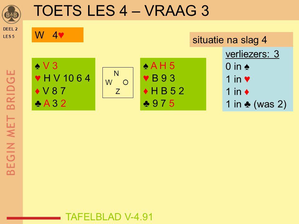 DEEL 2 LES 5 ♠ V 3 ♥ H V 10 6 4 ♦ V 8 7 ♣ A 3 2 ♠ A H 5 ♥ B 9 3 ♦ H B 5 2 ♣ 9 7 5 N W O Z TAFELBLAD V-4.91 verliezers: 3 0 in ♠ 1 in ♥ 1 in ♦ 1 in ♣ (