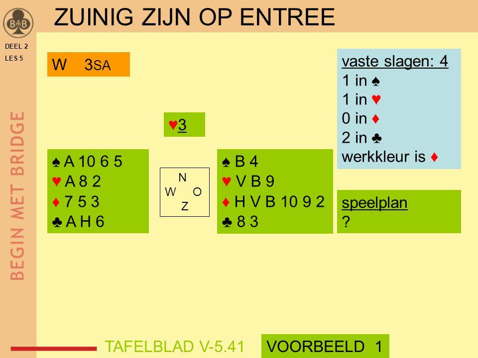 N W O Z DEEL 2 LES 5 vaste slagen: 4 1 in ♠ 1 in ♥ 0 in ♦ 2 in ♣ werkkleur is ♦ speelplan ? W 3 SA ZUINIG ZIJN OP ENTREE VOORBEELD 1TAFELBLAD V-5.41 ♠
