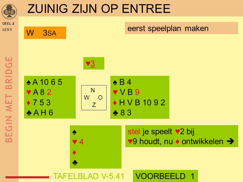 ♠♥ 4♦♣♠♥ 4♦♣ N W O Z eerst speelplan maken DEEL 2 LES 5 stel je speelt ♥2 bij ♥9 houdt, nu ♦ ontwikkelen  ZUINIG ZIJN OP ENTREE VOORBEELD 1 W 3 SA TA