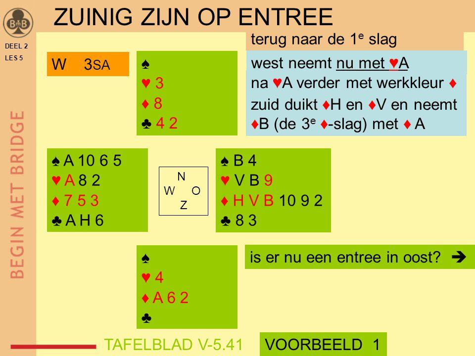 ♠ ♥ 3 ♦ 8 ♣ 4 2 ♠ ♥ 4 ♦ A 6 2 ♣ N W O Z DEEL 2 LES 5 na ♥A verder met werkkleur ♦ zuid duikt ♦H en ♦V en neemt ♦B (de 3 e ♦-slag) met ♦ A terug naar d