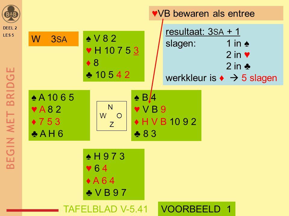 ♠ V 8 2 ♥ H 10 7 5 3 ♦ 8 ♣ 10 5 4 2 N W O Z DEEL 2 LES 5 ♥VB bewaren als entree ♠ H 9 7 3 ♥ 6 4 ♦ A 6 4 ♣ V B 9 7 resultaat: 3 SA + 1 slagen: 1 in ♠ 2
