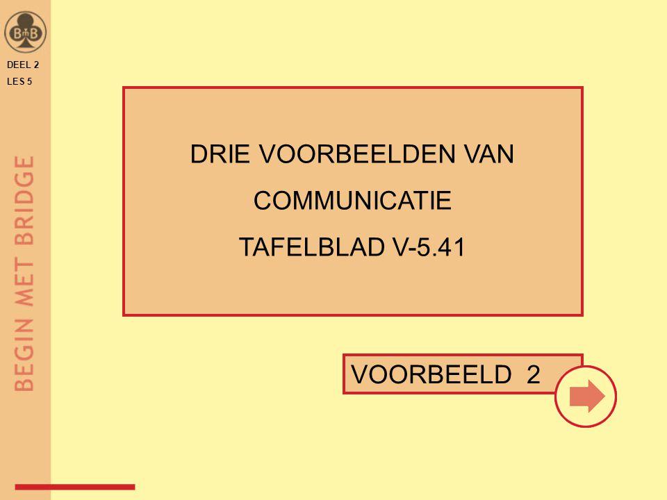 DEEL 2 LES 5 DRIE VOORBEELDEN VAN COMMUNICATIE TAFELBLAD V-5.41 VOORBEELD 2