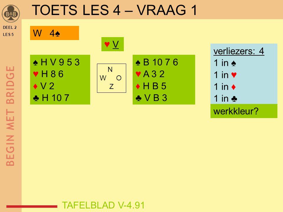 DEEL 2 LES 5 ♠ H V 9 5 3 ♥ H 8 6 ♦ V 2 ♣ H 10 7 ♠ B 10 7 6 ♥ A 3 2 ♦ H B 5 ♣ V B 3 N W O Z TAFELBLAD V-4.91 ♥ V♥ V verliezers: 4 1 in ♠ 1 in ♥ 1 in ♦