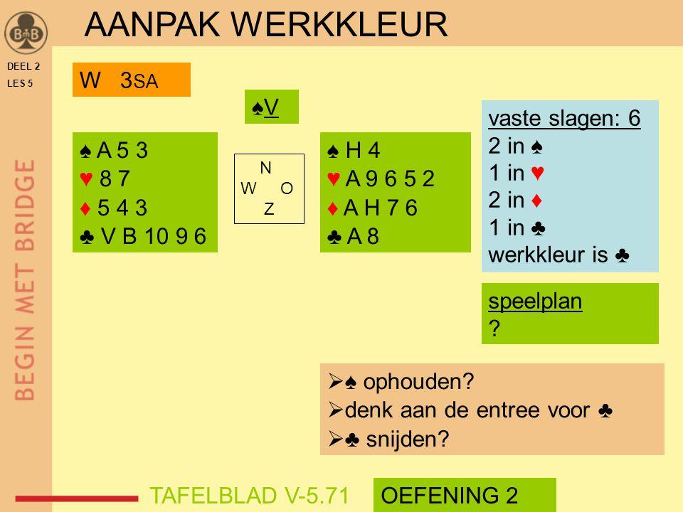 DEEL 2 LES 5 ♠ A 5 3 ♥ 8 7 ♦ 5 4 3 ♣ V B 10 9 6 ♠ H 4 ♥ A 9 6 5 2 ♦ A H 7 6 ♣ A 8 N W O Z ♠V♠V speelplan ? vaste slagen: 6 2 in ♠ 1 in ♥ 2 in ♦ 1 in ♣