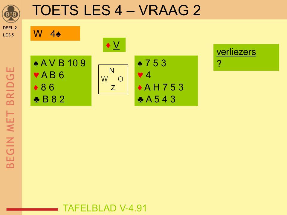 DEEL 2 LES 5 ♠ A V B 10 9 ♥ A B 6 ♦ 8 6 ♣ B 8 2 ♠ 7 5 3 ♥ 4 ♦ A H 7 5 3 ♣ A 5 4 3 N W O Z TAFELBLAD V-4.91 ♦ V♦ V W 4♠ verliezers ? TOETS LES 4 – VRAA
