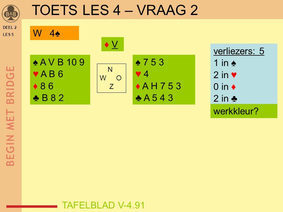 DEEL 2 LES 5 ♠ A V B 10 9 ♥ A B 6 ♦ 8 6 ♣ B 8 2 ♠ 7 5 3 ♥ 4 ♦ A H 7 5 3 ♣ A 5 4 3 N W O Z TAFELBLAD V-4.91 ♦ V♦ V verliezers: 5 1 in ♠ 2 in ♥ 0 in ♦ 2