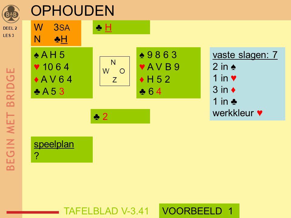 DEEL 2 LES 3 ♠ A H 5 ♥ 10 6 4 ♦ A V 6 4 ♣ A 5 3 ♠ 9 8 6 3 ♥ A V B 9 ♦ H 5 2 ♣ 6 4 N W O Z ♣ HW 3 SA N ♣H vaste slagen: 7 2 in ♠ 1 in ♥ 3 in ♦ 1 in ♣ w