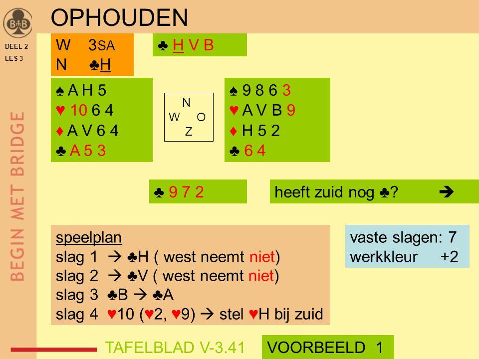 DEEL 2 LES 3 ♠ A H 5 ♥ 10 6 4 ♦ A V 6 4 ♣ A 5 3 ♠ 9 8 6 3 ♥ A V B 9 ♦ H 5 2 ♣ 6 4 N W O Z ♣ H V BW 3 SA N ♣H speelplan slag 1  ♣H ( west neemt niet) slag 2  ♣V ( west neemt niet) slag 3 ♣B  ♣A slag 4 ♥10 (♥2, ♥9)  stel ♥H bij zuid vaste slagen: 7 werkkleur +2 ♣ 9 7 2 OPHOUDEN TAFELBLAD V-3.41VOORBEELD 1 heeft zuid nog ♣.