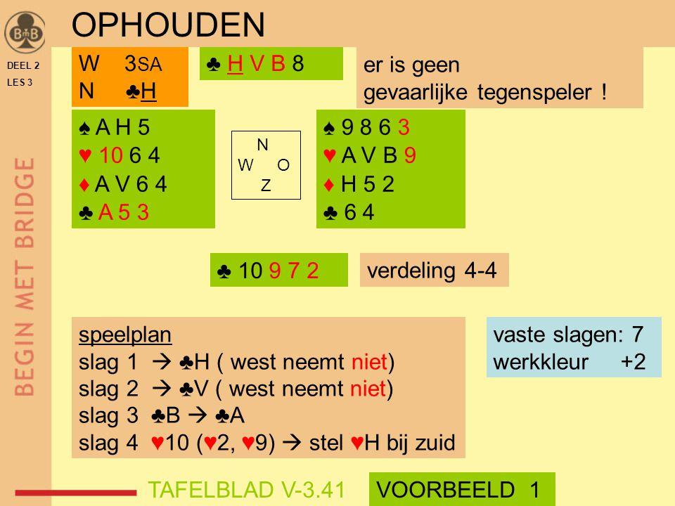 DEEL 2 LES 3 ♠ A H 5 ♥ 10 6 4 ♦ A V 6 4 ♣ A 5 3 ♠ 9 8 6 3 ♥ A V B 9 ♦ H 5 2 ♣ 6 4 N W O Z ♣ H V B 8W 3 SA N ♣H speelplan slag 1  ♣H ( west neemt niet