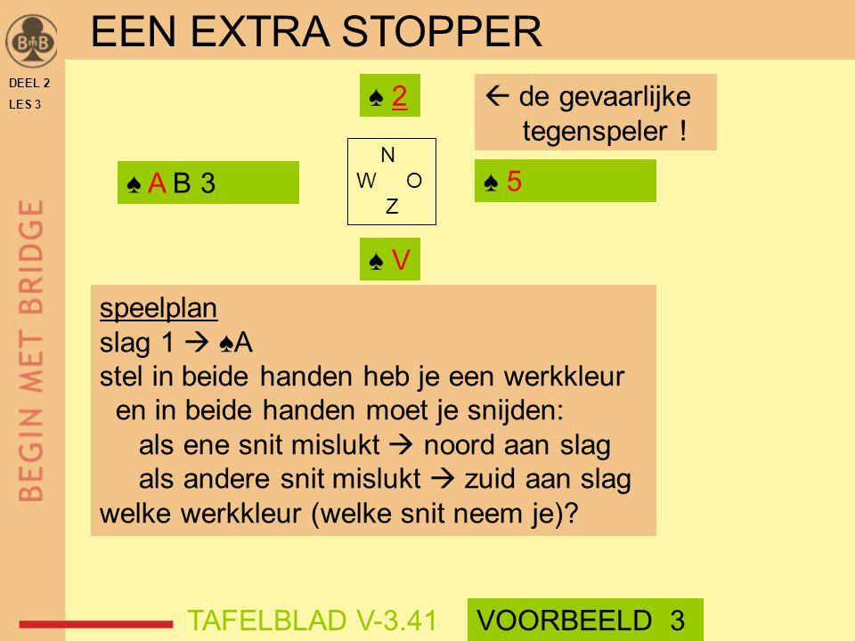 DEEL 2 LES 3 N W O Z ♠ 5 ♠ A B 3 ♠ 2 ♠ V  de gevaarlijke tegenspeler ! speelplan slag 1  ♠A stel in beide handen heb je een werkkleur en in beide ha