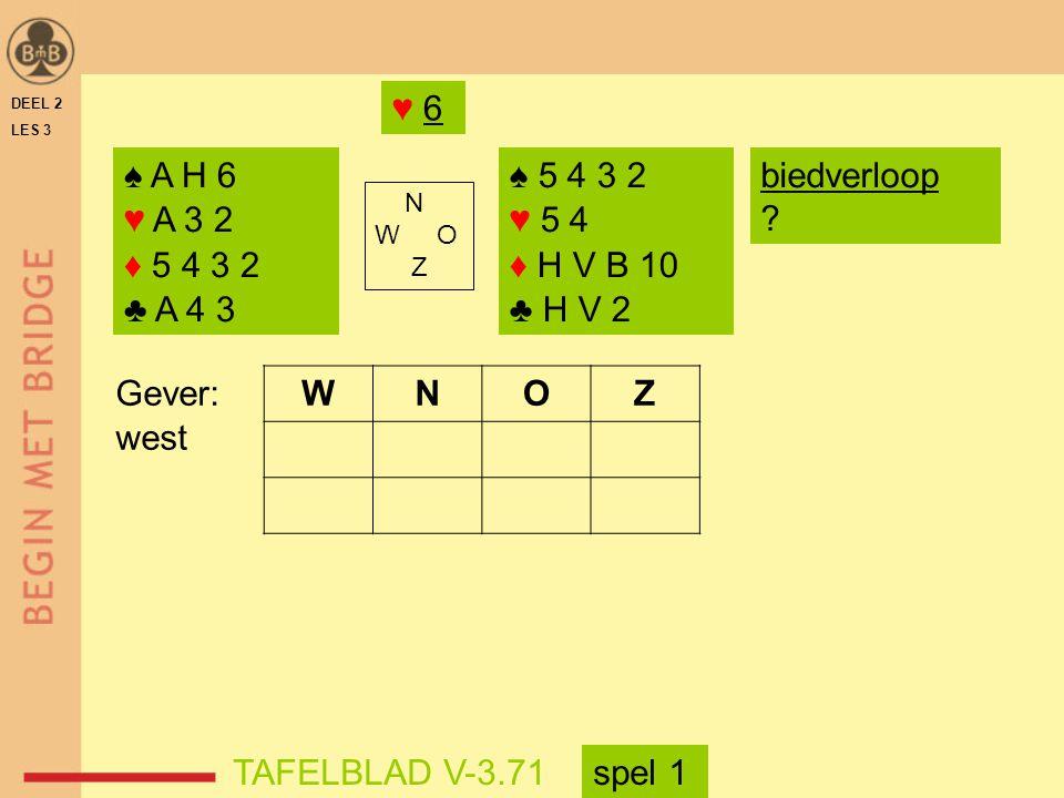 DEEL 2 LES 3 ♠ A H 6 ♥ A 3 2 ♦ 5 4 3 2 ♣ A 4 3 ♠ 5 4 3 2 ♥ 5 4 ♦ H V B 10 ♣ H V 2 N W O Z WNOZ TAFELBLAD V-3.71 Gever: west biedverloop ? ♥ 6 spel 1