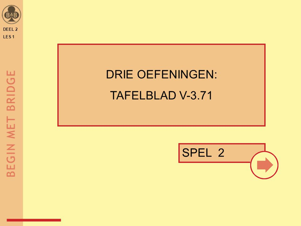 DEEL 2 LES 1 SPEL 2 DRIE OEFENINGEN: TAFELBLAD V-3.71