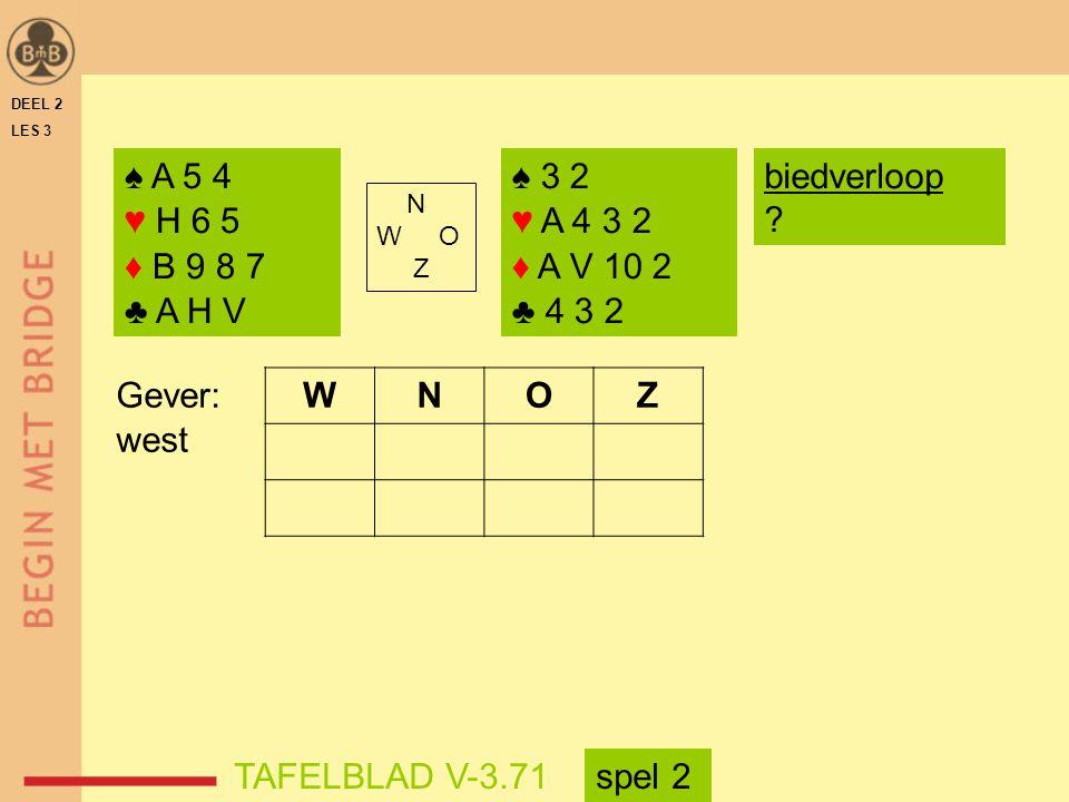 DEEL 2 LES 3 ♠ A 5 4 ♥ H 6 5 ♦ B 9 8 7 ♣ A H V ♠ 3 2 ♥ A 4 3 2 ♦ A V 10 2 ♣ 4 3 2 N W O Z WNOZ TAFELBLAD V-3.71 Gever: west biedverloop ? spel 2