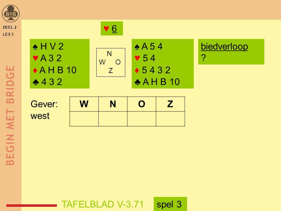 DEEL 2 LES 3 ♠ H V 2 ♥ A 3 2 ♦ A H B 10 ♣ 4 3 2 ♠ A 5 4 ♥ 5 4 ♦ 5 4 3 2 ♣ A H B 10 N W O Z WNOZ TAFELBLAD V-3.71 Gever: west ♥ 6 biedverloop ? spel 3