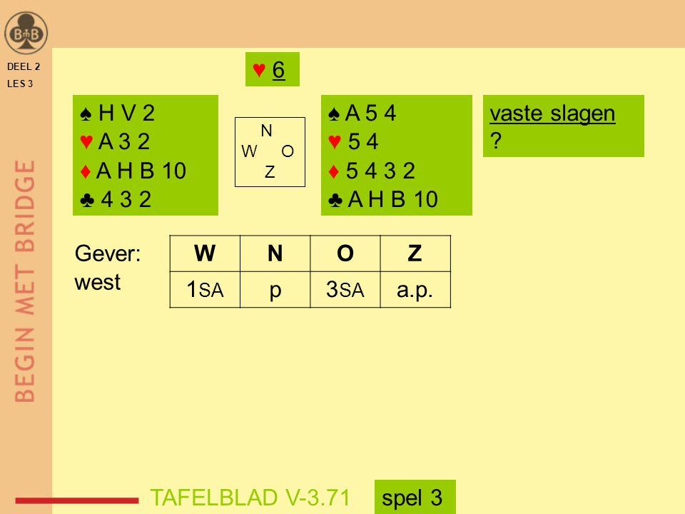 DEEL 2 LES 3 ♠ H V 2 ♥ A 3 2 ♦ A H B 10 ♣ 4 3 2 ♠ A 5 4 ♥ 5 4 ♦ 5 4 3 2 ♣ A H B 10 N W O Z WNOZ 1 SA p3 SA a.p. TAFELBLAD V-3.71 Gever: west ♥ 6 vaste