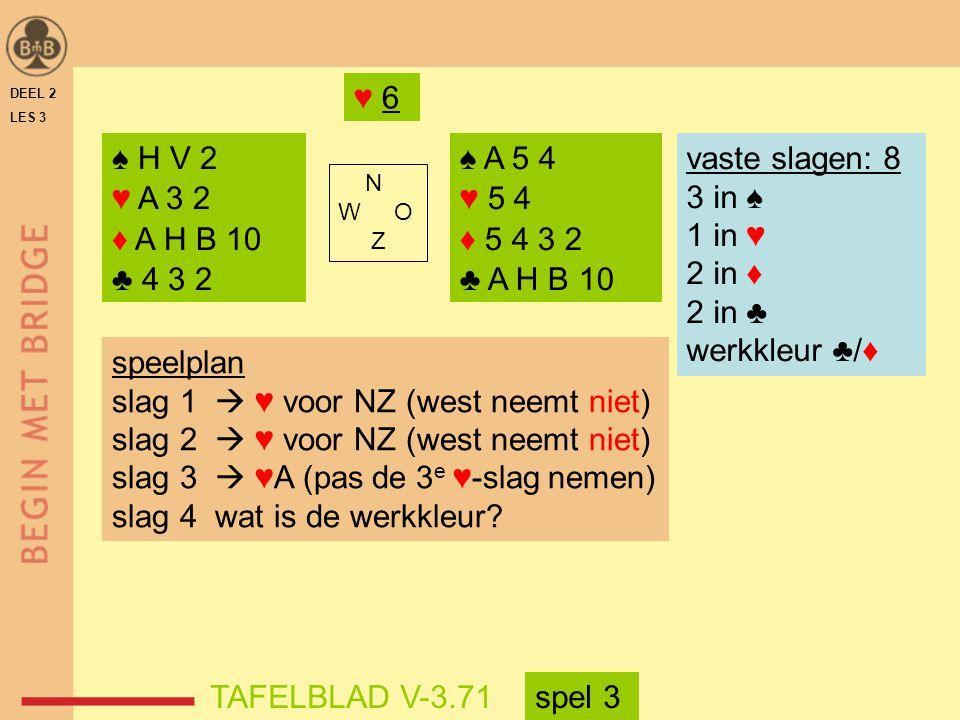 DEEL 2 LES 3 ♠ H V 2 ♥ A 3 2 ♦ A H B 10 ♣ 4 3 2 ♠ A 5 4 ♥ 5 4 ♦ 5 4 3 2 ♣ A H B 10 N W O Z TAFELBLAD V-3.71 ♥ 6 vaste slagen: 8 3 in ♠ 1 in ♥ 2 in ♦ 2 in ♣ werkkleur ♣/♦ speelplan slag 1  ♥ voor NZ (west neemt niet) slag 2  ♥ voor NZ (west neemt niet) slag 3  ♥A (pas de 3 e ♥-slag nemen) slag 4 wat is de werkkleur.