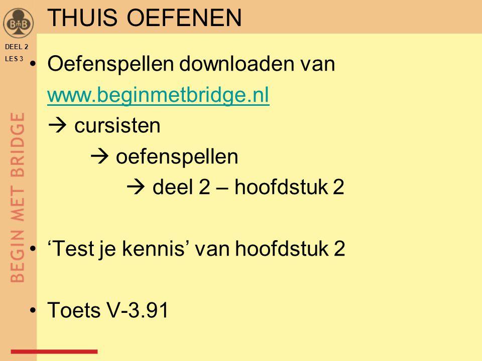 Oefenspellen downloaden van www.beginmetbridge.nl  cursisten  oefenspellen  deel 2 – hoofdstuk 2 'Test je kennis' van hoofdstuk 2 Toets V-3.91 DEEL 2 LES 3 THUIS OEFENEN