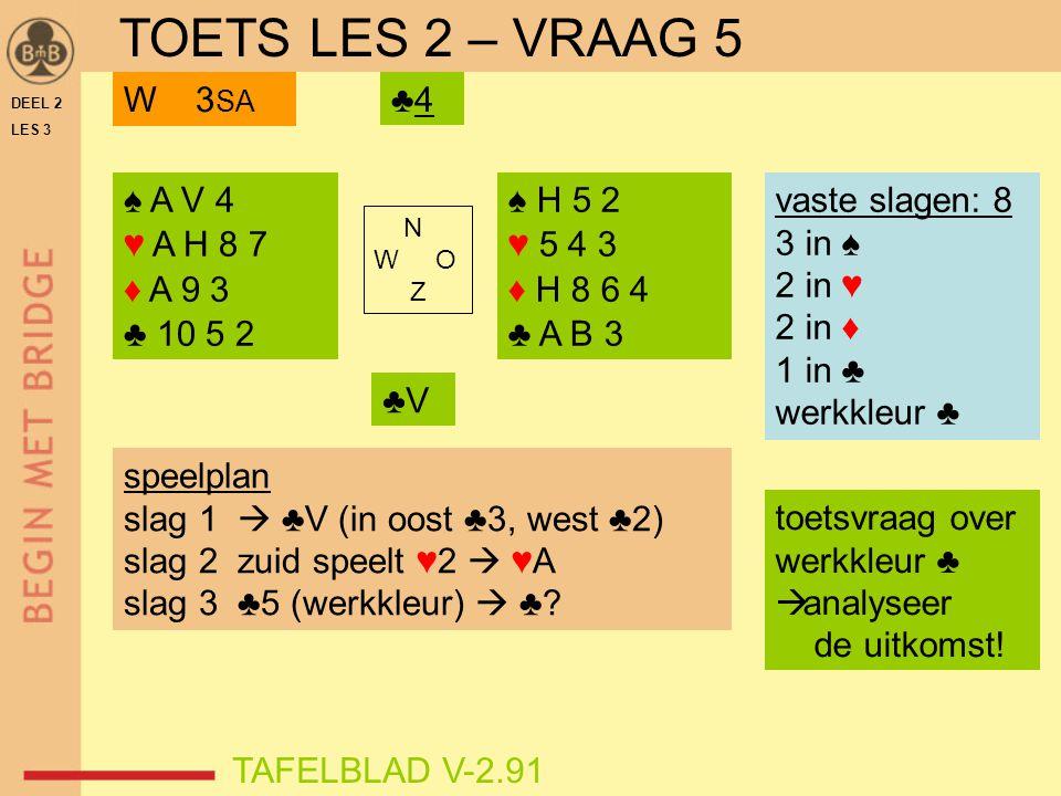 DEEL 2 LES 3 ♠ A V 4 ♥ A H 8 7 ♦ A 9 3 ♣ 10 5 2 ♠ H 5 2 ♥ 5 4 3 ♦ H 8 6 4 ♣ A B 3 N W O Z TAFELBLAD V-2.91 ♣4♣4W 3 SA vaste slagen: 8 3 in ♠ 2 in ♥ 2 in ♦ 1 in ♣ werkkleur ♣ speelplan slag 1  ♣V (in oost ♣3, west ♣2) slag 2 zuid speelt ♥2  ♥A slag 3 ♣5 (werkkleur)  ♣.
