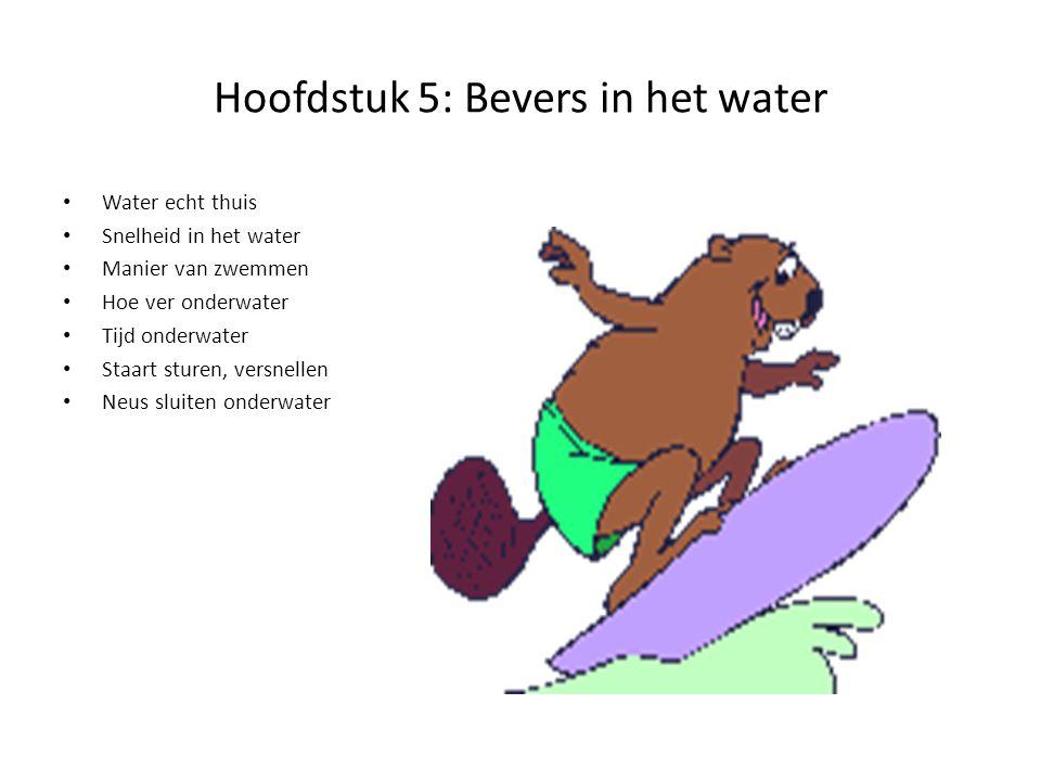 Hoofdstuk 5: Bevers in het water Water echt thuis Snelheid in het water Manier van zwemmen Hoe ver onderwater Tijd onderwater Staart sturen, versnelle