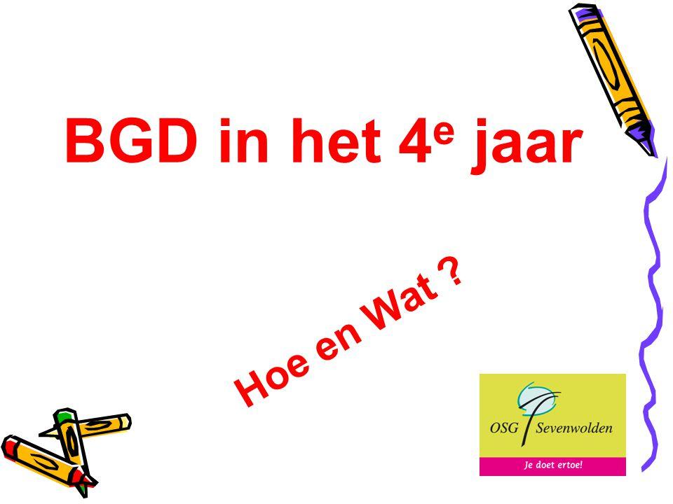 BGD in het 4 e jaar Hoe en Wat ?