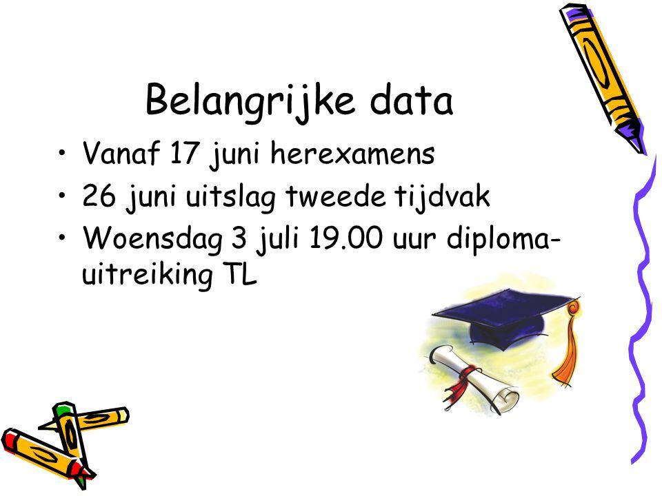 Belangrijke data Vanaf 17 juni herexamens 26 juni uitslag tweede tijdvak Woensdag 3 juli 19.00 uur diploma- uitreiking TL