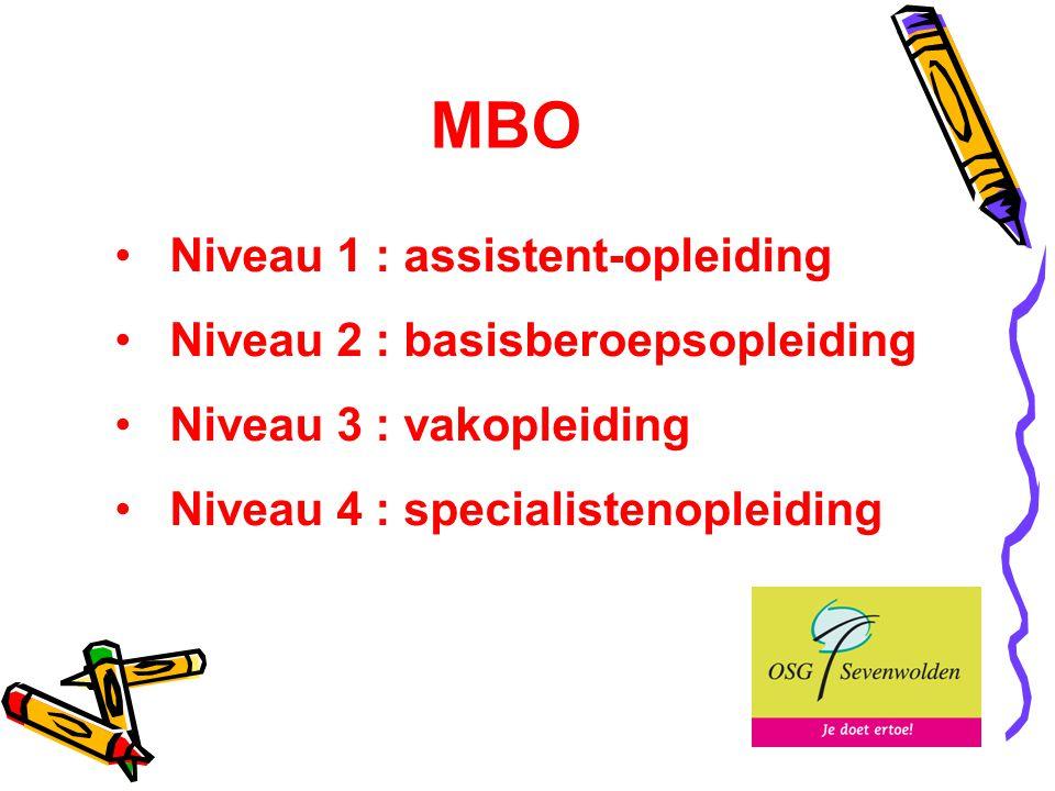 MBO Niveau 1 : assistent-opleiding Niveau 2 : basisberoepsopleiding Niveau 3 : vakopleiding Niveau 4 : specialistenopleiding