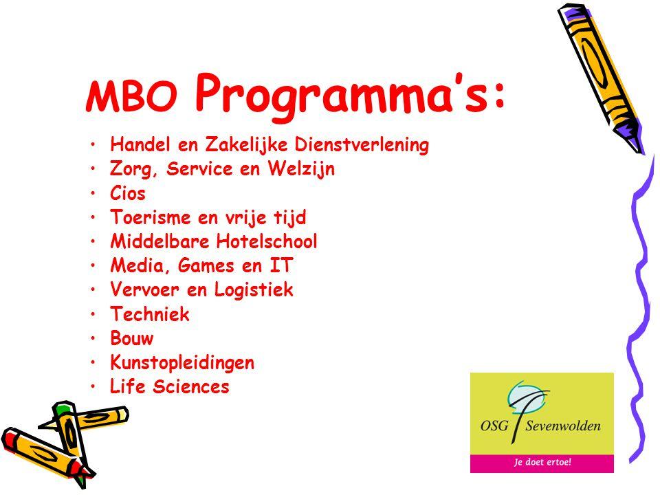 MBO Programma's: Handel en Zakelijke Dienstverlening Zorg, Service en Welzijn Cios Toerisme en vrije tijd Middelbare Hotelschool Media, Games en IT Vervoer en Logistiek Techniek Bouw Kunstopleidingen Life Sciences