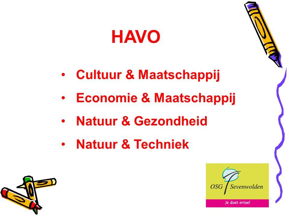 HAVO Cultuur & Maatschappij Economie & Maatschappij Natuur & Gezondheid Natuur & Techniek