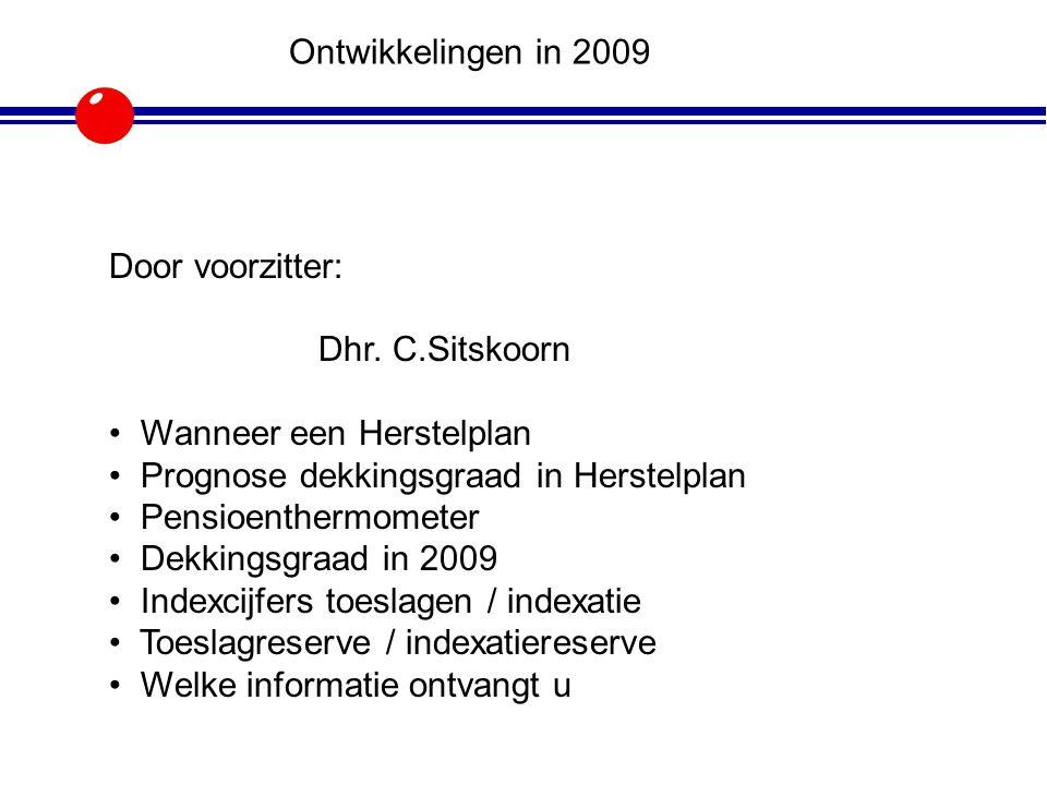 Door voorzitter: Dhr. C.Sitskoorn Wanneer een Herstelplan Prognose dekkingsgraad in Herstelplan Pensioenthermometer Dekkingsgraad in 2009 Indexcijfers