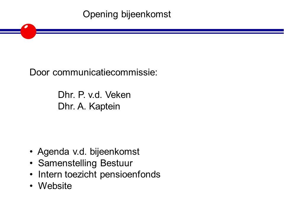 Opening bijeenkomst Door communicatiecommissie: Dhr. P. v.d. Veken Dhr. A. Kaptein Agenda v.d. bijeenkomst Samenstelling Bestuur Intern toezicht pensi