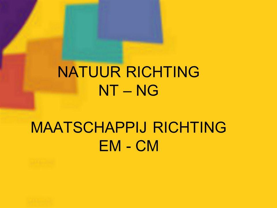 NATUUR RICHTING NT – NG MAATSCHAPPIJ RICHTING EM - CM