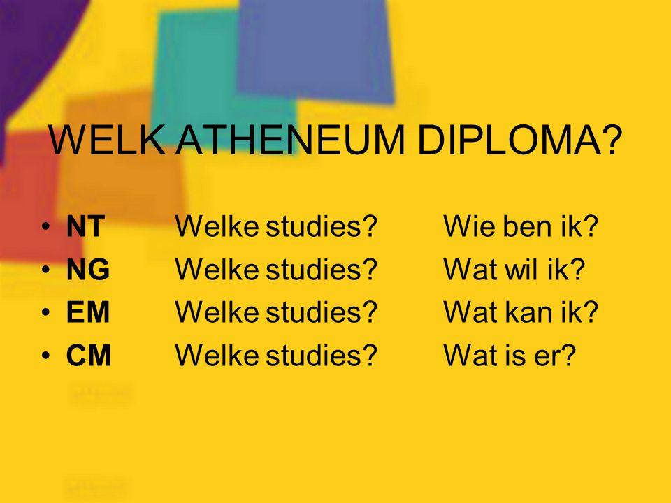 WELK ATHENEUM DIPLOMA? NTWelke studies?Wie ben ik? NGWelke studies?Wat wil ik? EMWelke studies?Wat kan ik? CMWelke studies?Wat is er?