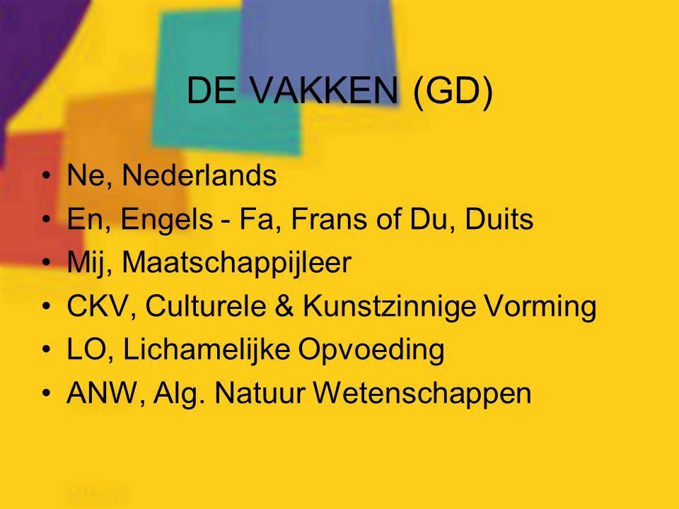 DE VAKKEN (GD) Ne, Nederlands En, Engels - Fa, Frans of Du, Duits Mij, Maatschappijleer CKV, Culturele & Kunstzinnige Vorming LO, Lichamelijke Opvoedi