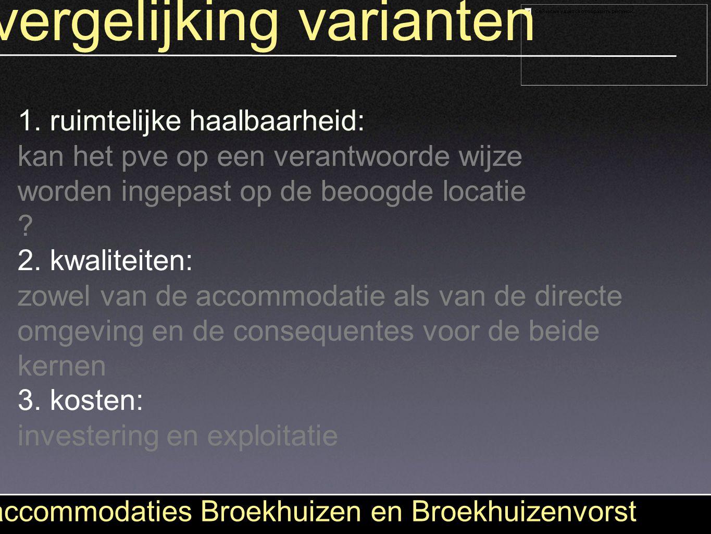 vergelijking varianten accommodaties Broekhuizen en Broekhuizenvorst 1. ruimtelijke haalbaarheid: kan het pve op een verantwoorde wijze worden ingepas