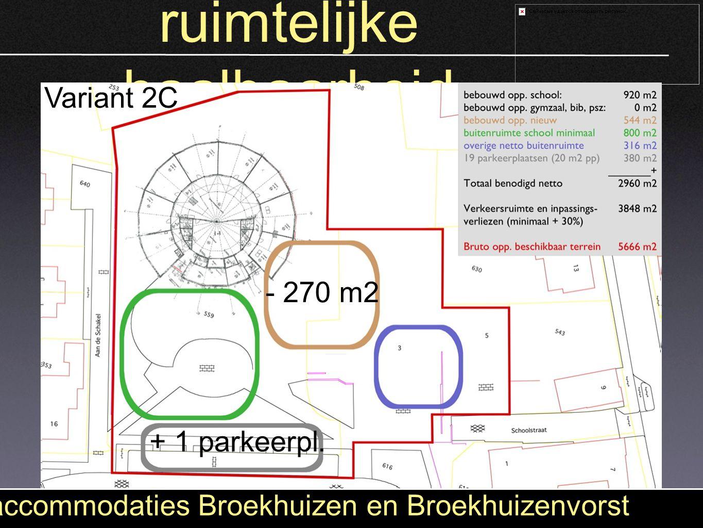 ruimtelijke haalbaarheid accommodaties Broekhuizen en Broekhuizenvorst + 45 parkeerplaatsen + 870 m2 Variant 1 Variant 2A +388 m2 +16 parkeerpl. Varia