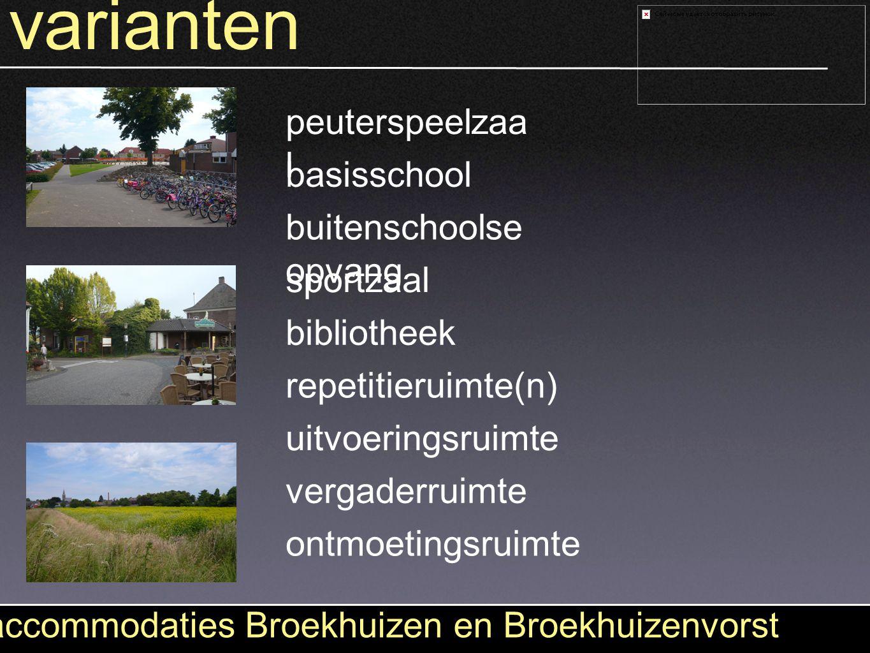 varianten accommodaties Broekhuizen en Broekhuizenvorst peuterspeelzaa l basisschool buitenschoolse opvang sportzaal bibliotheek repetitieruimte(n) ui
