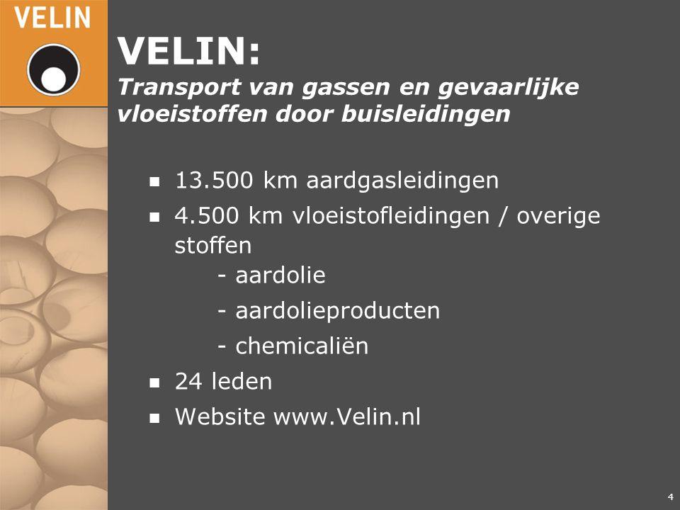 4 VELIN: Transport van gassen en gevaarlijke vloeistoffen door buisleidingen n 13.500 km aardgasleidingen n 4.500 km vloeistofleidingen / overige stof
