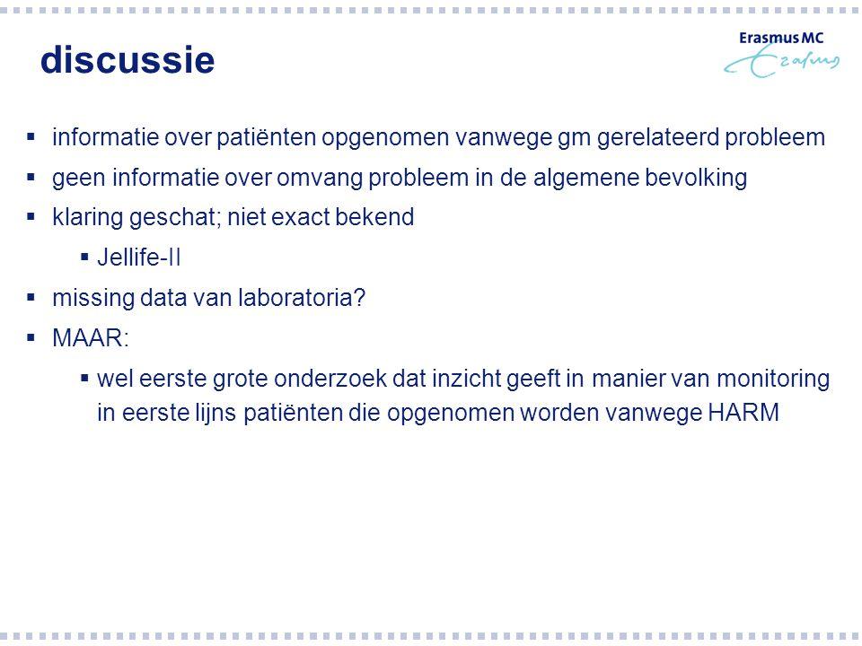 discussie  informatie over patiënten opgenomen vanwege gm gerelateerd probleem  geen informatie over omvang probleem in de algemene bevolking  klar