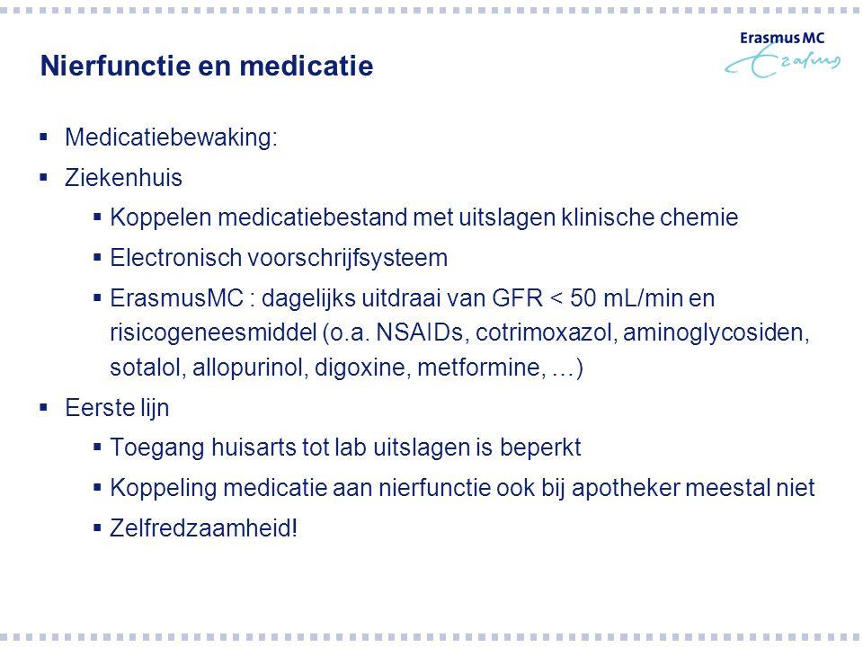 Nierfunctie en medicatie  Medicatiebewaking:  Ziekenhuis  Koppelen medicatiebestand met uitslagen klinische chemie  Electronisch voorschrijfsystee