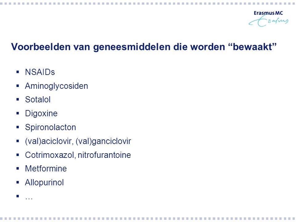 """Voorbeelden van geneesmiddelen die worden """"bewaakt""""  NSAIDs  Aminoglycosiden  Sotalol  Digoxine  Spironolacton  (val)aciclovir, (val)ganciclovir"""