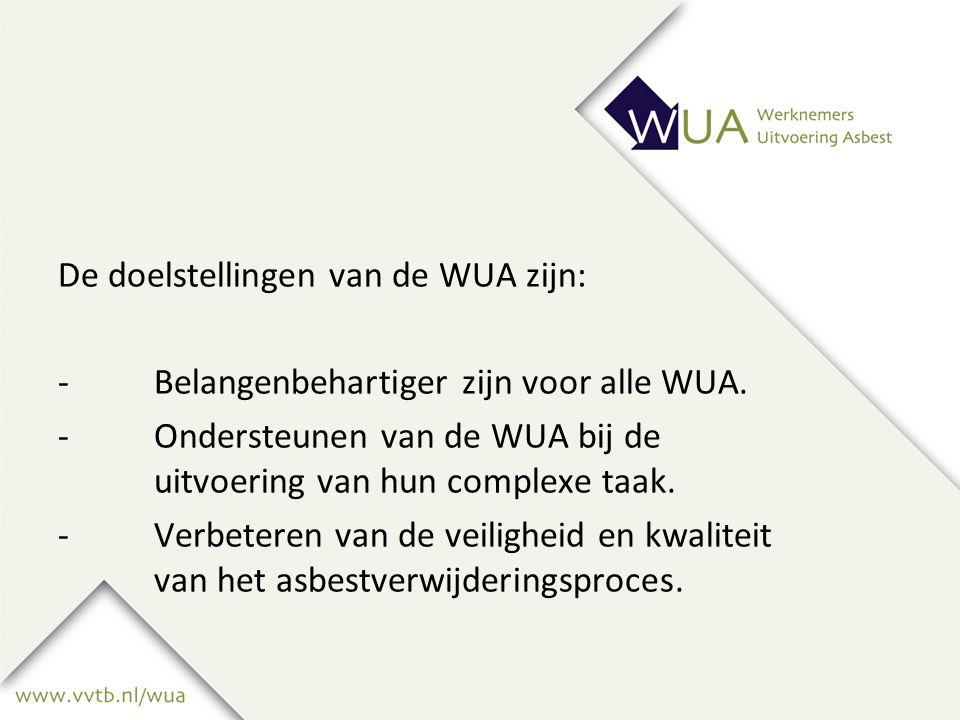 De doelstellingen van de WUA zijn: -Belangenbehartiger zijn voor alle WUA.