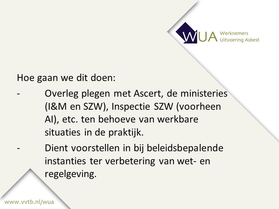 Hoe gaan we dit doen: -Overleg plegen met Ascert, de ministeries (I&M en SZW), Inspectie SZW (voorheen AI), etc.