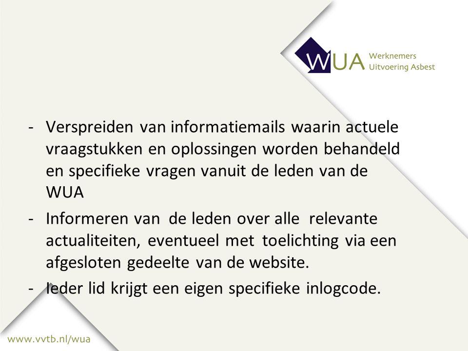 -Verspreiden van informatiemails waarin actuele vraagstukken en oplossingenworden behandeld en specifieke vragen vanuit de leden van de WUA -Informeren van de leden over alle relevante actualiteiten, eventueel met toelichting via een afgesloten gedeelte van de website.