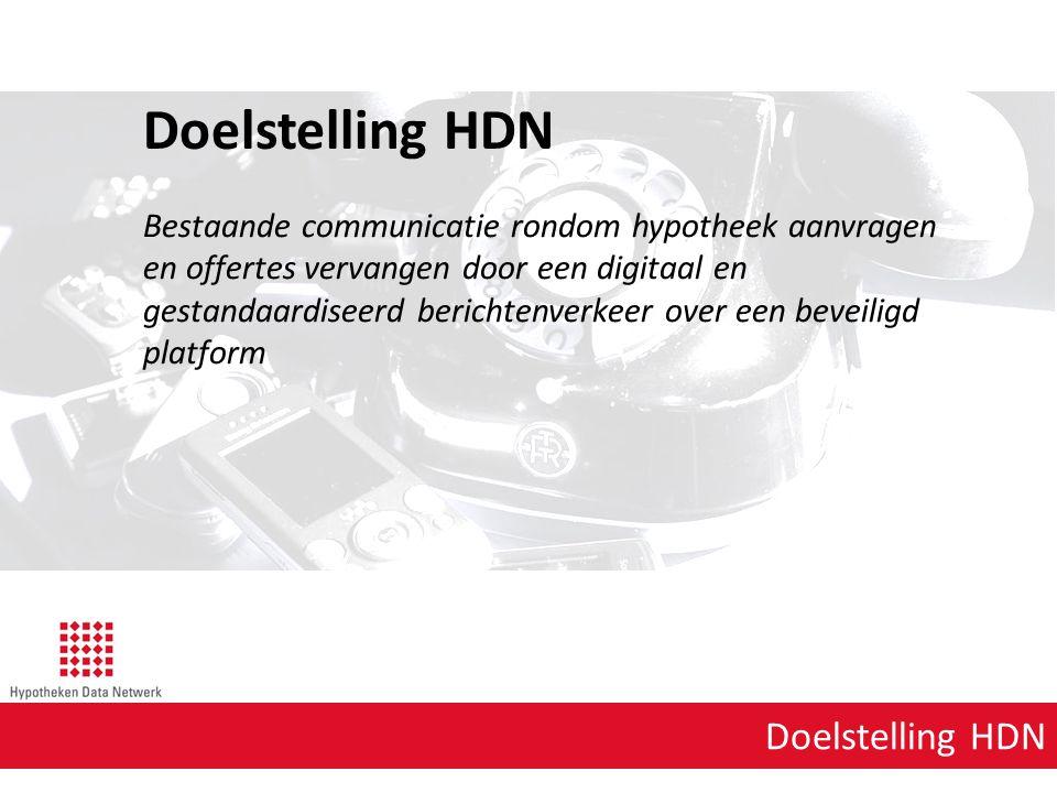 Doelstelling HDN Bestaande communicatie rondom hypotheek aanvragen en offertes vervangen door een digitaal en gestandaardiseerd berichtenverkeer over