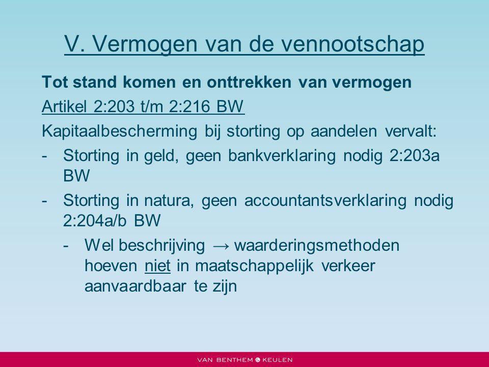 V. Vermogen van de vennootschap Tot stand komen en onttrekken van vermogen Artikel 2:203 t/m 2:216 BW Kapitaalbescherming bij storting op aandelen ver