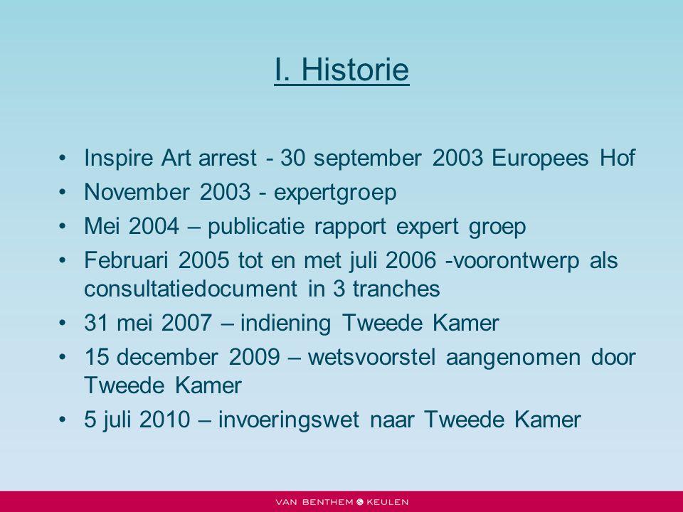I. Historie Inspire Art arrest - 30 september 2003 Europees Hof November 2003 - expertgroep Mei 2004 – publicatie rapport expert groep Februari 2005 t